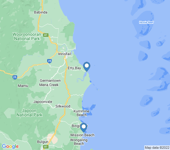 map of Mission Beach fishing charters