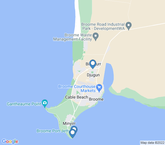 map of Broome fishing charters