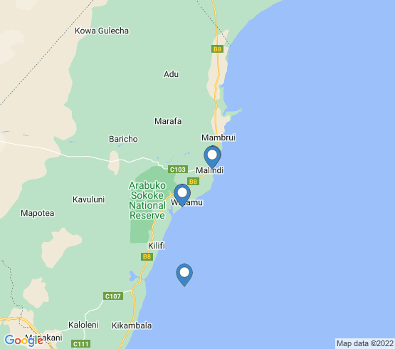 map of Malindi fishing charters