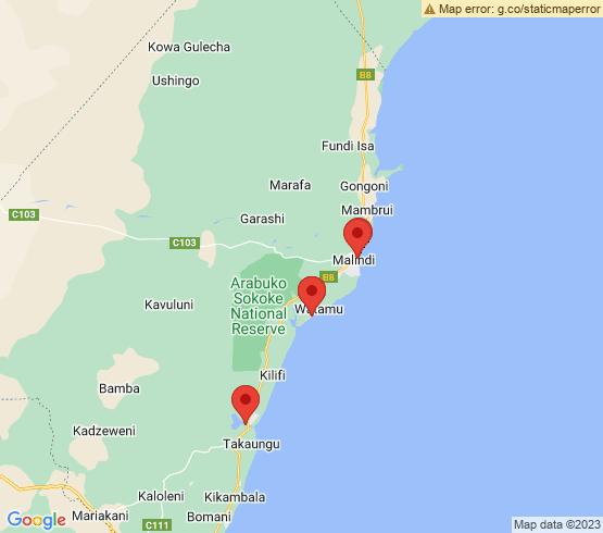map of Kenya fishing charters