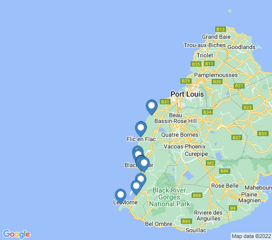 map of Flic en Flac fishing charters