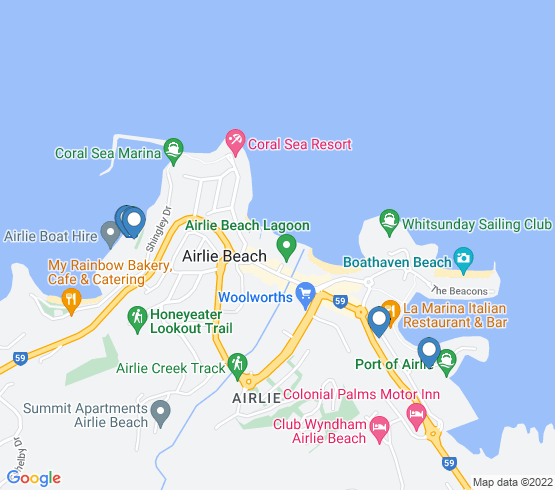 map of Airlie Beach fishing charters