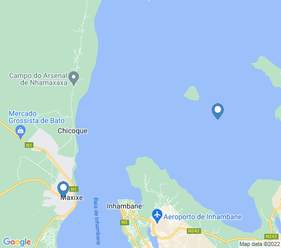 map of Inhambane fishing charters