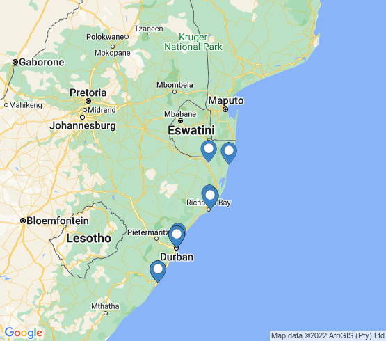 map of KwaZulu-Natal fishing charters