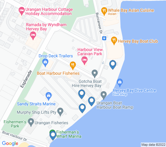 map of Hervey Bay fishing charters
