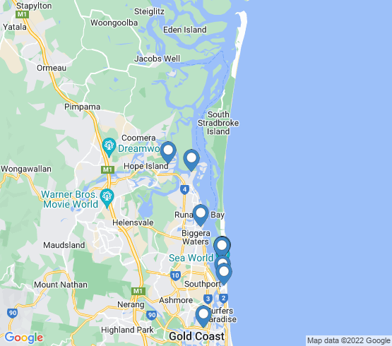 map of Main Beach fishing charters