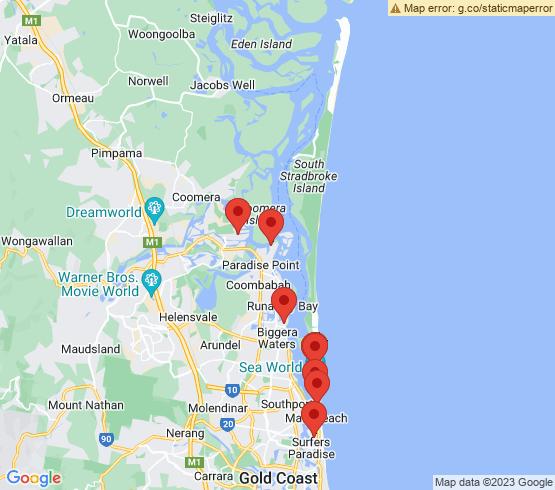 map of Main Beach fishing charters