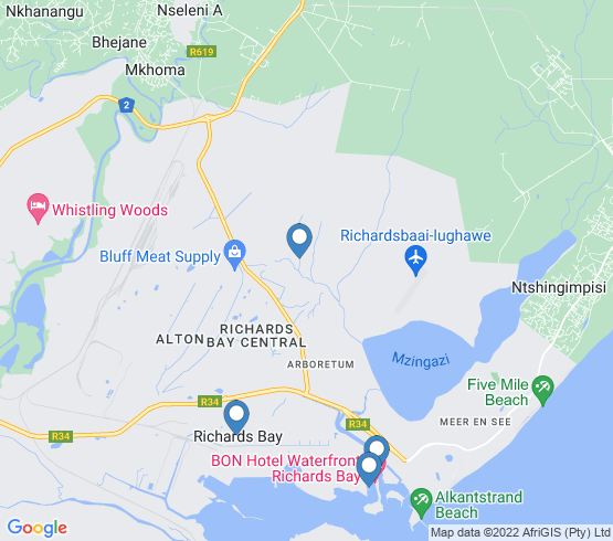 map of Richards Bay fishing charters