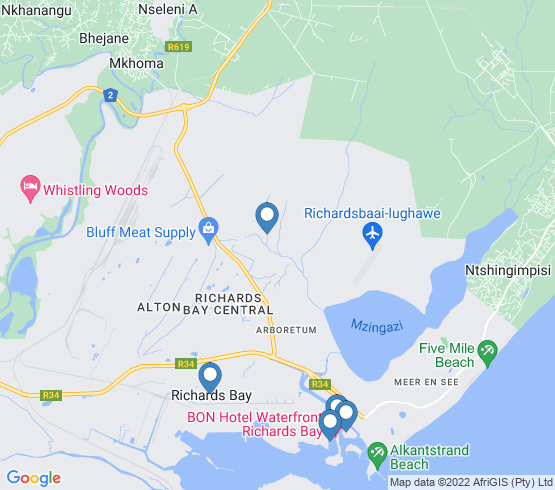 map of Richards Bay fishing charters