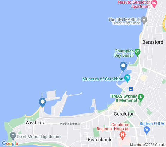 map of Geraldton fishing charters