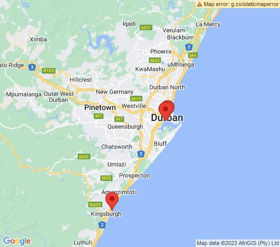 map of Amanzimtoti fishing charters