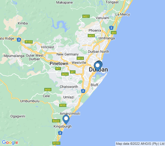 map of Durban fishing charters