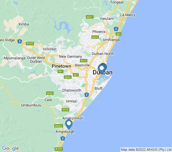 map of Amanzimtoti fishing charters