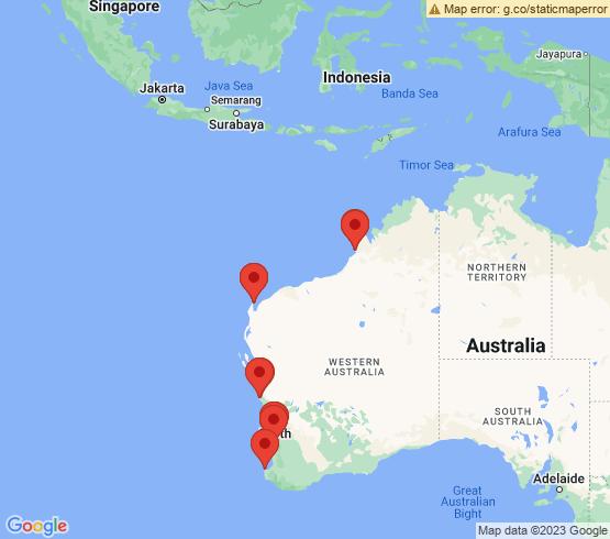 map of Western Australia fishing charters