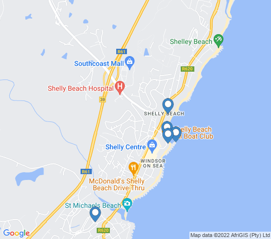 map of Shelly Beach fishing charters