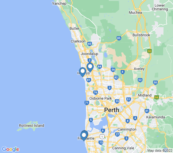 map of Fremantle fishing charters