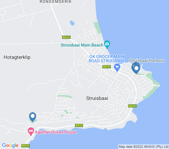 map of Struisbaai fishing charters