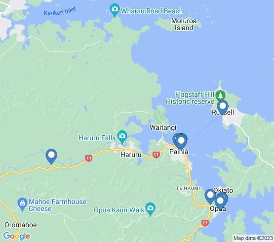 map of Haruru fishing charters