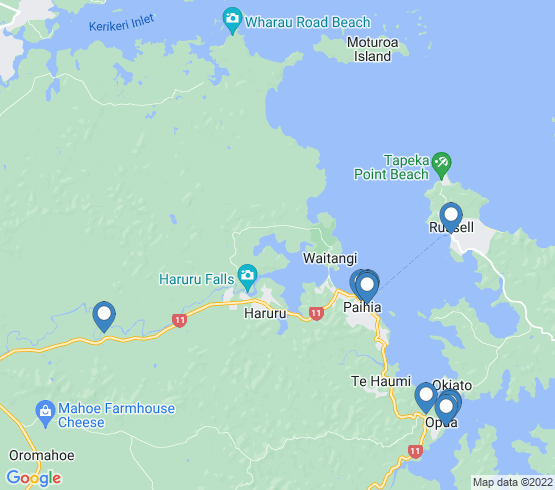 map of Bay Of Islands fishing charters