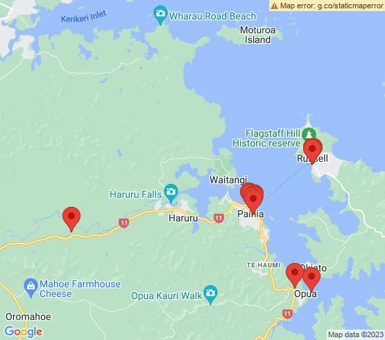 map of Opua fishing charters