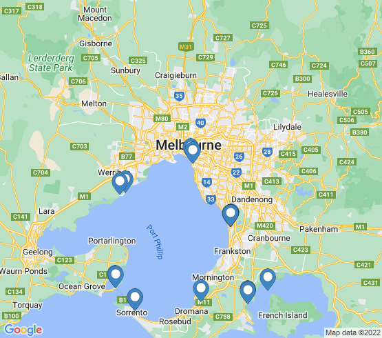 map of Melbourne fishing charters