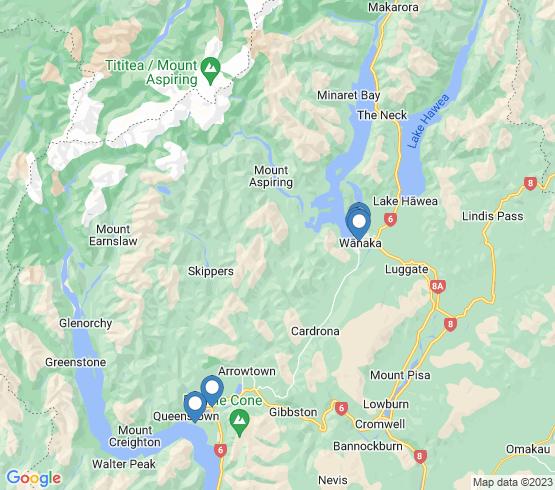 map of Wanaka fishing charters