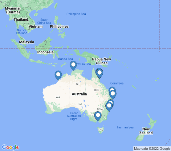 map of Australia fishing charters