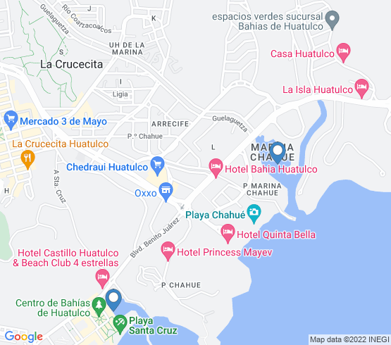 map of Bahias De Huatulco fishing charters