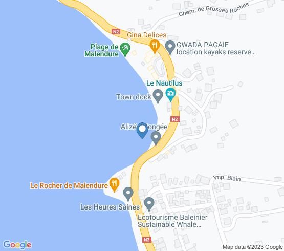 map of Bouillante fishing charters