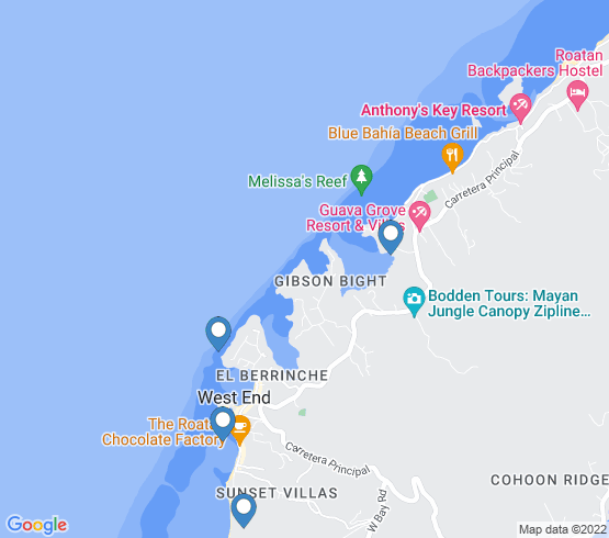 map of Roatan fishing charters