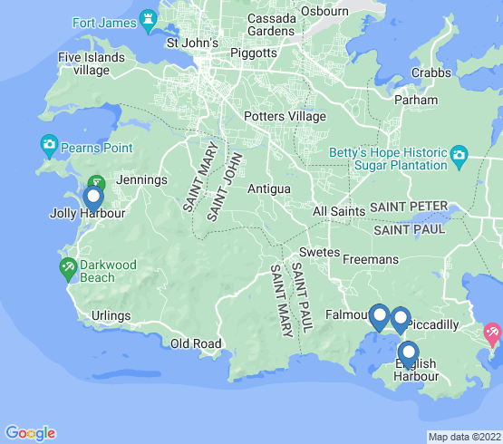 map of Falmouth Harbour fishing charters