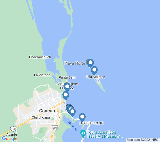 map of Isla Mujeres fishing charters