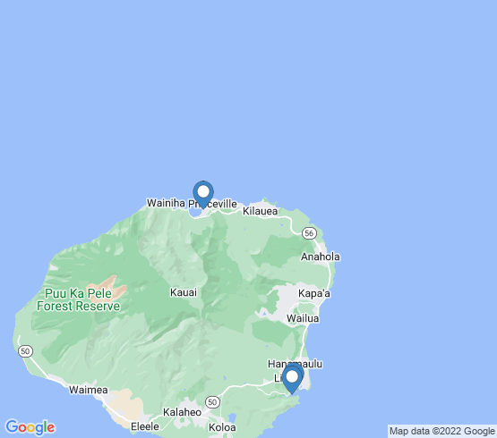 map of Lihue fishing charters