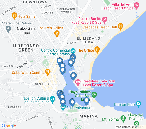 map of Cabo San Lucas fishing charters