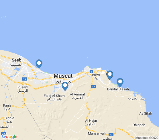 map of Muscat fishing charters