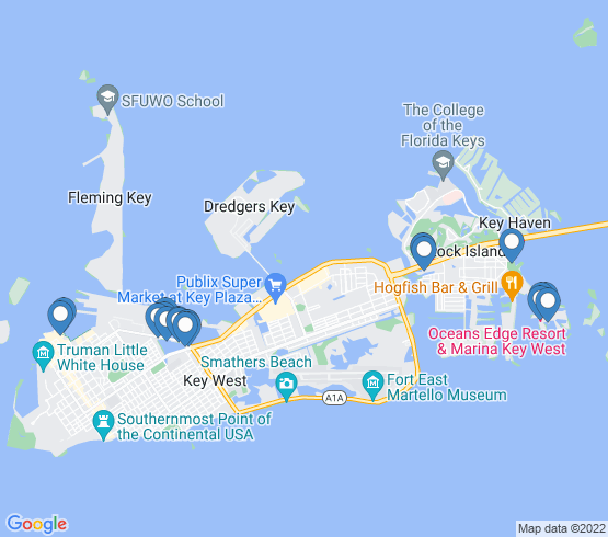 map of Key West fishing charters