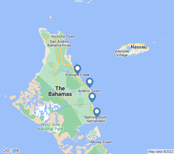map of Andros fishing charters