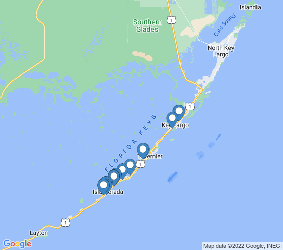 map of Tavernier fishing charters