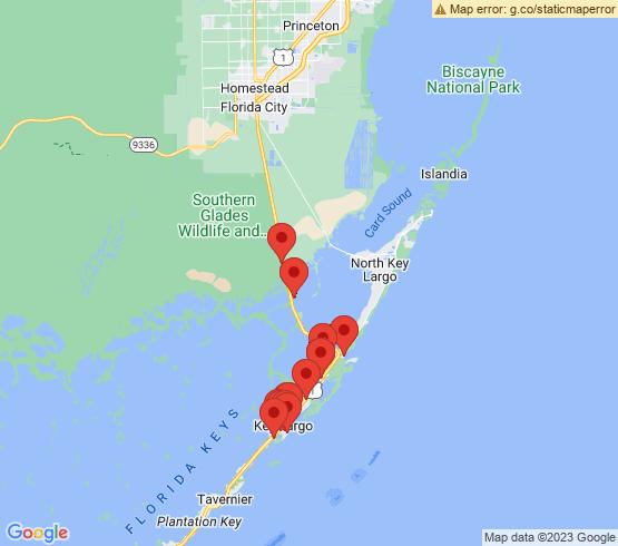 map of Key Largo fishing charters