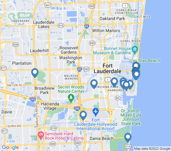 map of Fort Lauderdale fishing charters