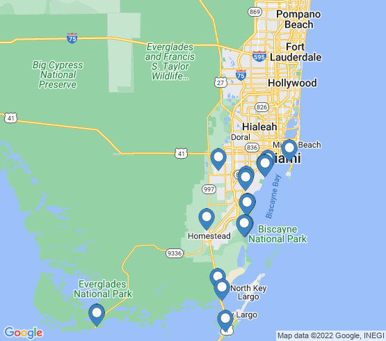 map of Homestead fishing charters