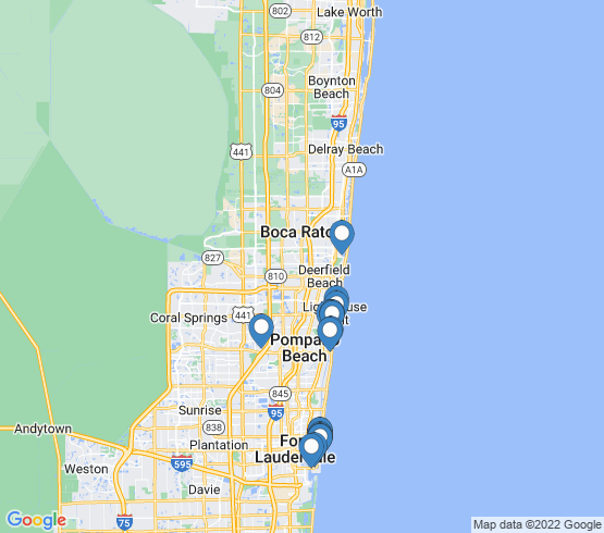 map of Coconut Creek fishing charters