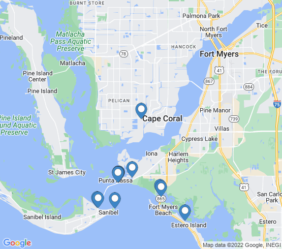 map of Sanibel fishing charters