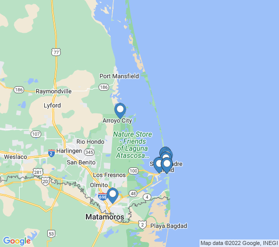 map of Brownsville fishing charters