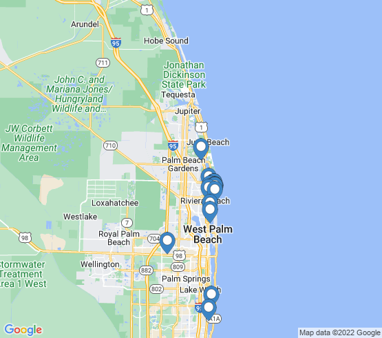 map of West Palm Beach fishing charters