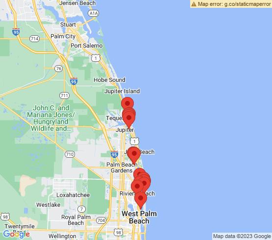map of Palm Beach Gardens fishing charters