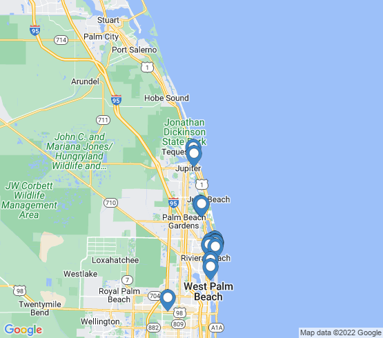 map of Palm Beach Shores fishing charters