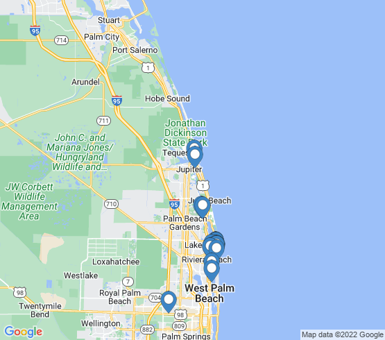 map of North Palm Beach fishing charters