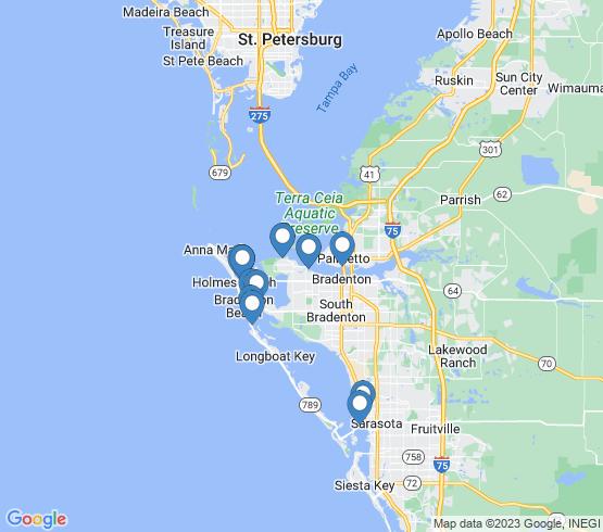 map of Bradenton Beach fishing charters