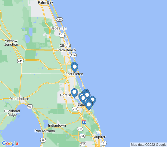 map of Jensen Beach fishing charters